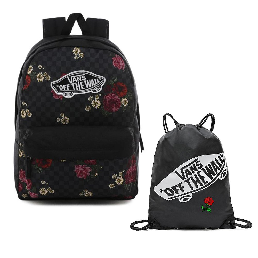 Plecak do szkoły Vans Realm Botanical Check VN0A3UI6UWX + Worek Custom Red Rose
